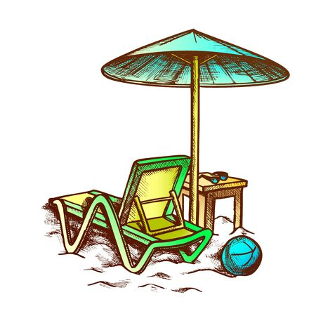 Beach Chair With Umbrella And Stool Retro Vector. Sun Glasses On Wooden Chair And Ball On Sand. Summer Vacation Engraving Concept Template Hand Drawn In Vintage Style Color Illustration