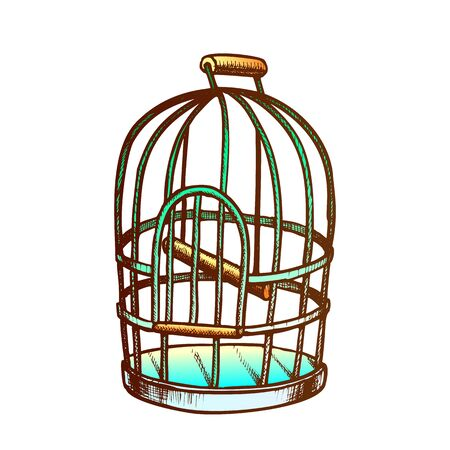 Birdcage For Domestic Parrot Monochrome Vector. Metallic Birdcage For Canary. Pet Shop Accessory Metal Bird Cell Engraving Template Hand Drawn In Vintage Style Color Illustration