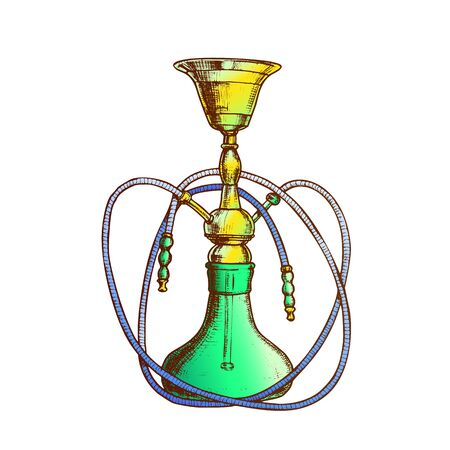 Hookah Lounge Bar Relax Equipment Retro Vector. Standing Arabian Traditional Smoking Cultural Glass Hookah With Two Tubes. Oriental Relaxation Aroma Tobacco Tool Color Hand Drawn Illustration 일러스트