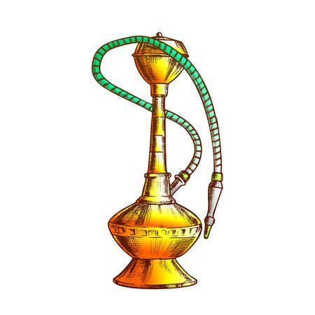 Smoking Hookah Lounge Cafe Tool Hand Drawn Vector. For Hookah Manufacturers Increasingly Use Stainless Steel And Aluminium. Relaxation Accessory Color Designed In Retro Style Illustration