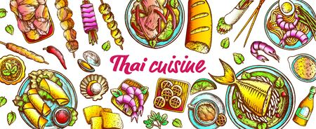 Traditional Thailand Cuisine Set Vector. Soup With Fish And Shrimp, Spring Roll And Cookies Assortment Cuisine. Engraving Layout Designed In Vintage Style Color Illustrations 向量圖像