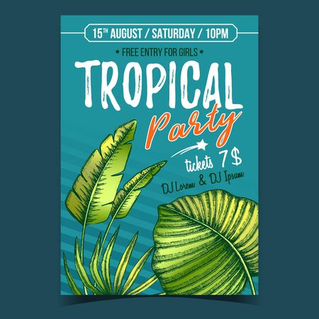 Licuala Grandis Exotic Bush Leaves Poster Vector. Native To Lowland Rainforests Leaves Depicted on Advertising Tropical Party. Beautiful Nature Botanical Herb Designed In Vintage Style Illustration