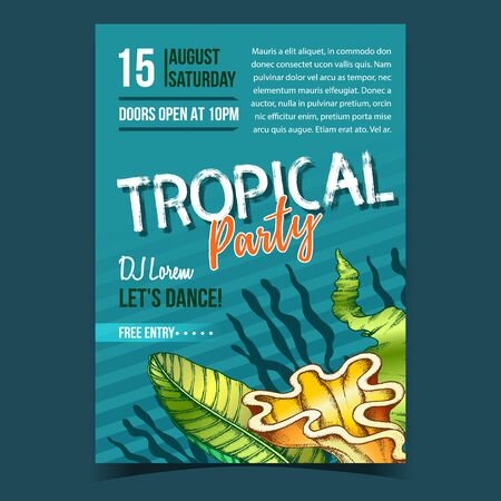 Tropical Leaf, Seaweeds And Shell Banner Vector. Decorative Jungle Floral Frond Leaf And Sea Plant On Invite Flyer. Beautiful Nature Botanical Tree Herb Designed In Retro Style Illustration Vector Illustration