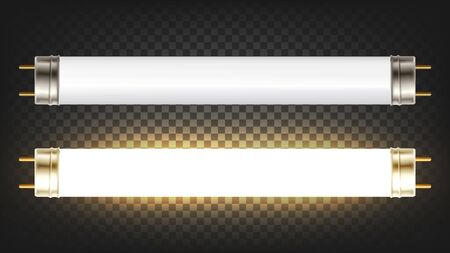 Lighting Electrical Energy Fluorescent Lamp Vector. Gas Excites Mercury Vapor Produce Short-wave Ultraviolet Light Causes Phosphor Coating On Inside Of Lamp To Glow. Template Realistic 3d Illustration