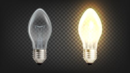 Electrical Glowing Incandescent Light Globe Vector. Filament Of Light Lamp Protected From Oxidation With Glass Bulb Filled With Inert Gas Or Vacuum. Illuminate Device Layout Realistic 3d Illustration Ilustração