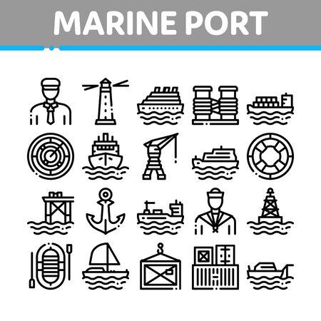 Conjunto de iconos de colección de transporte de puerto marino Vector delgada línea. Muelle de puerto y puerto, faro y ancla, capitán y marinero, concepto de grúa y barco pictogramas lineales. Monocromo - Imagen virada Ilustraciones