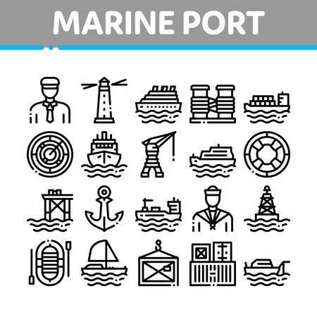 Marine Port Transport Collection Icons Set Vector Thin Line. Port Dock And Harbor, Lighthouse And Anchor, Captain And Sailor, Crane And Ship Concept Linear Pictograms. Monochrome Contour Illustrations Illusztráció