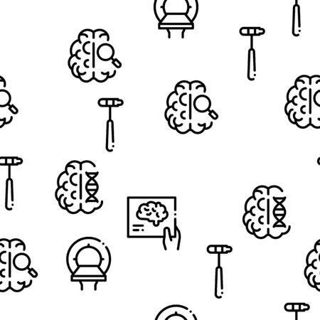 Neurology Medicine Seamless Pattern Vector Thin Line. Illustrations