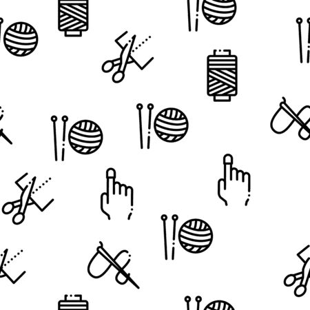 Sewing And Needlework Seamless Pattern Vector Thin Line. Illustrations