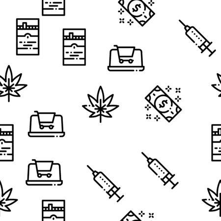 Addiction Bad Habits Seamless Pattern Vector Thin Line. Illustrations