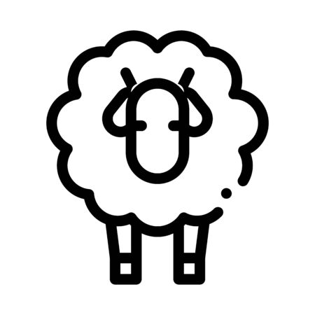 Woolly Sheep Lamb Animal Icon Vector. Outline Woolly Sheep Lamb Animal Sign. Isolated Contour Symbol Illustration