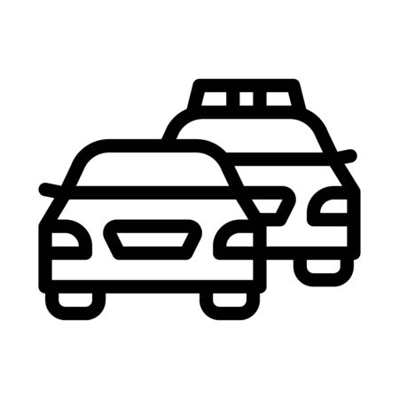 Police And Criminal Car Icon Vector. Outline Police And Criminal Car Sign. Isolated Contour Symbol Illustration Illustration