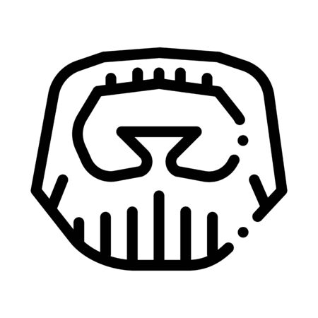 Short Beard Mustache Icon Vector. Outline Short Beard Mustache Sign. Isolated Contour Symbol Illustration