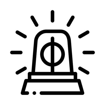 Police Squad Car Alarm Icon Vector. Outline Police Squad Car Alarm Sign. Isolated Contour Symbol Illustration Ilustração