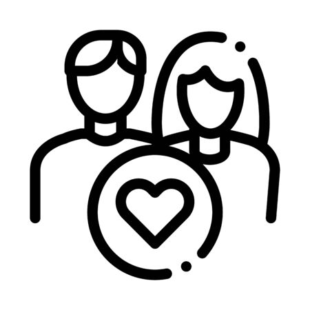 Man And Girl And Heart Icon Vector. Outline Man And Girl And Heart Sign. Isolated Contour Symbol Illustration