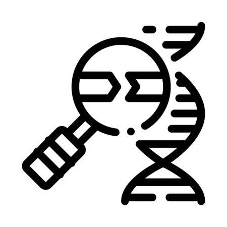 Molecule And Magnifier Icon Vector. Outline Molecule And Magnifier Sign. Isolated Contour Symbol Illustration
