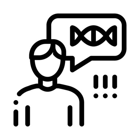 Man Genetic Molecule Icon Vector. Outline Man Genetic Molecule Sign. Isolated Contour Symbol Illustration