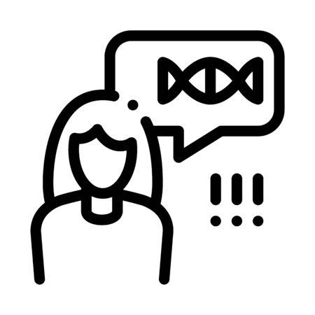 Woman Genetic Molecule Icon Vector. Outline Woman Genetic Molecule Sign. Isolated Contour Symbol Illustration