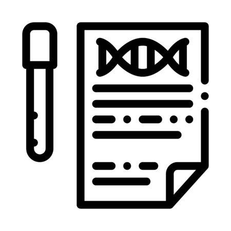 Result Test List Flask Icon Vector. Outline Result Test List Flask Sign. Isolated Contour Symbol Illustration