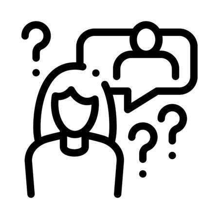 Woman Thinking About Man Icon Vector. Outline Woman Thinking About Man Sign. Isolated Contour Symbol Illustration Illusztráció