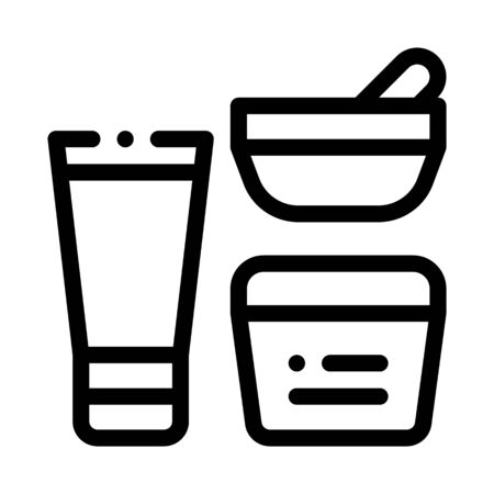 Cosmetic Container Tube Icon Vector. Outline Cosmetic Container Tube Sign. Isolated Contour Symbol Illustration