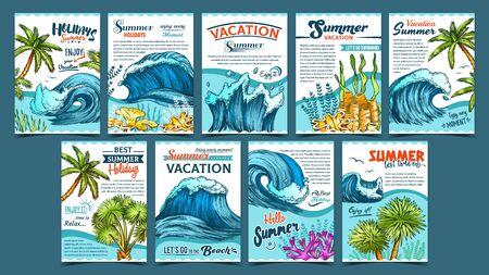 Vague, palmiers et algues Banner Set Vector. Affiche publicitaire créative de collection avec des plantes à feuilles vertes, des algues et des marées marines. Illustrations de modèles colorés de vacances d'été