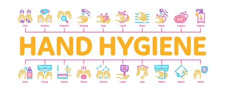 Hand Healthy Hygiene Minimal Infographic Web Banner Vector. Hand Protection, Washing With Anti Bacterial Soap And Foam, Paper Concept Illustrations Иллюстрация