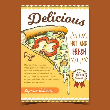 Delicious Vegetarian Italian Pizza Poster Vector. Slice Cheese Pizza With Ingredients Mushroom Honey Agaric And Paprika Pepper, Basil Leaves And Oregano Advertising Banner Concept Illustration Çizim