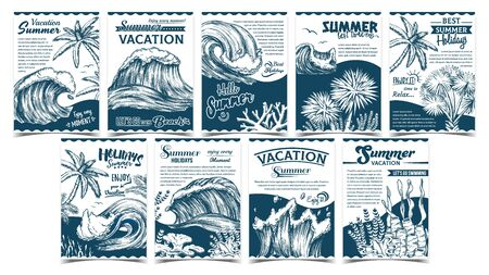 Wave, Palm Trees And Seaweeds Banner Set Vector. Collection Creative Advertising Poster With Green Leaves Plants, Seaweeds And Marine Tides. Summer Vacation Holidays Monochrome Template Illustrations