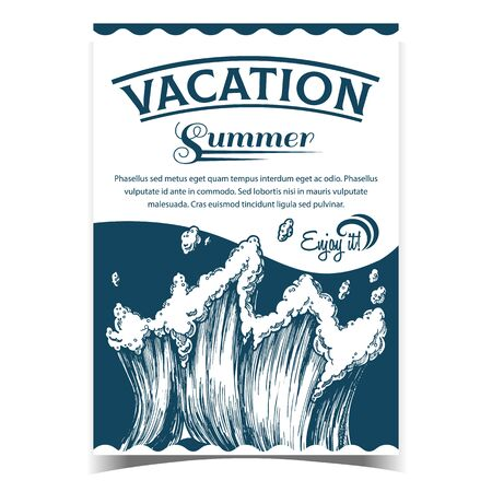 Rushing Tropical Sea Marine Wave Poster Vector. Tall Foamy Purl Wind Storm Tide Surf Wave With Drop And Foam On Advertising Summer Vacation Banner. Motion Nature Aquatic Tsunami Monochrome Illustration Illustration
