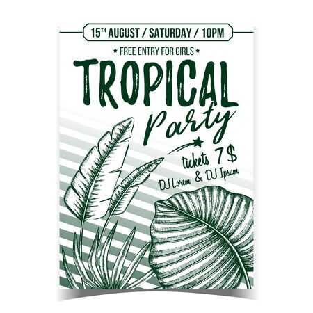 Licuala Grandis Exotic Bush Leaves Poster Vector. Native To Lowland Rainforests Leaves Depicted on Advertising Tropical Party. Beautiful Nature Botanical Herb Monochrome Illustration