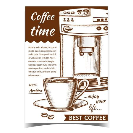 Espresso Machine Front View And Cup Banner Vector. Stylish Electronic Coffee Machine, Beams And Mug With Hot Arabica Drink. Technology For Make Beverage Template Monochrome Vintage Style Illustration