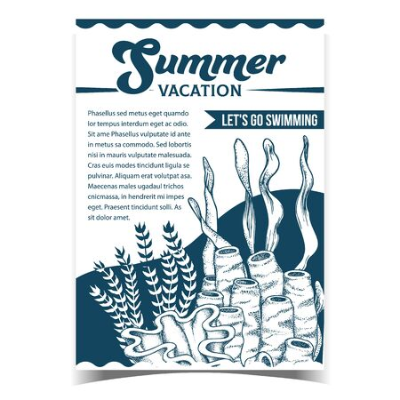 Marine Reef Tubes Coral And Seaweeds Banner Vector. Green Leaves Plants Seaweeds On Creative Advertising Summer Vacation Poster. Undersea Flora And Fauna Monochrome Template Illustration