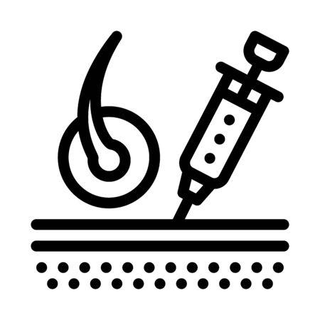 Syringe Injection Icon Vector. Outline Syringe Injection Sign. Isolated Contour Symbol Illustration