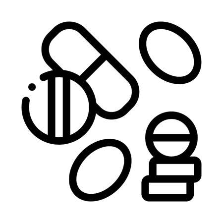 Medical Drug Pill Icon Vector. Outline Medical Drug Pill Sign. Isolated Contour Symbol Illustration