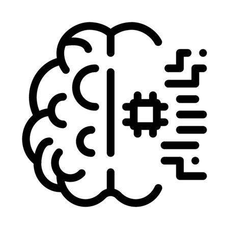 Ai Brain Chip Icon Vector. Outline Ai Brain Chip Sign. Isolated Contour Symbol Illustration