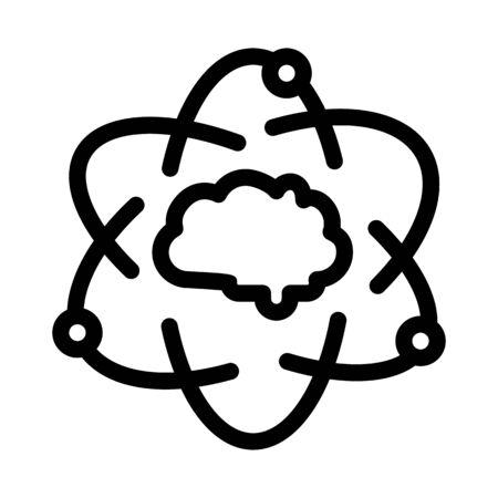 Atom Human Brain Icon Vector. Outline Atom Human Brain Sign. Isolated Contour Symbol Illustration