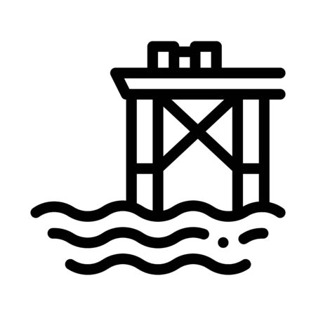 Oil Sea Platform Icon Vector. Outline Oil Sea Platform Sign. Isolated Contour Symbol Illustration