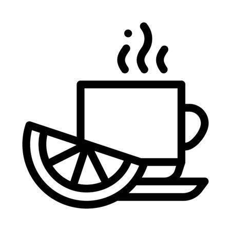 Lemon Tea Cup Icon Vector. Outline Lemon Tea Cup Sign. Isolated Contour Symbol Illustration