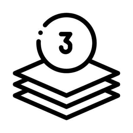 Three Layers Icon Vector. Outline Three Layers Sign. Isolated Contour Symbol Illustration