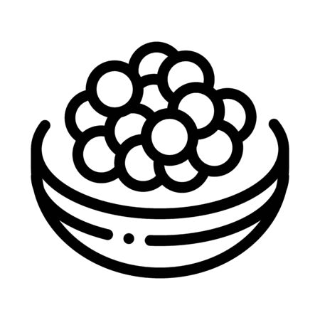 Caviar On Tray Icon Vector. Outline Caviar On Tray Sign. Isolated Contour Symbol Illustration