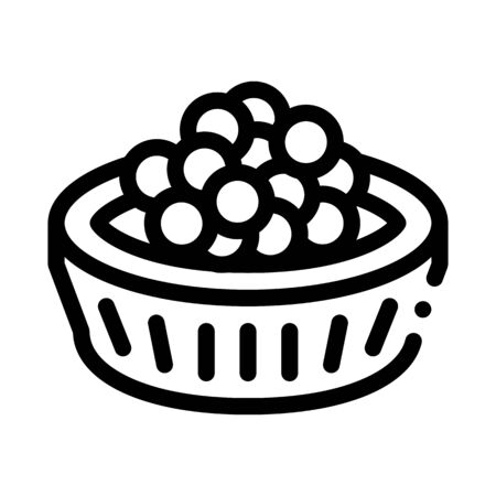 Caviar In Basket Icon Vector. Outline Caviar In Basket Sign. Isolated Contour Symbol Illustration