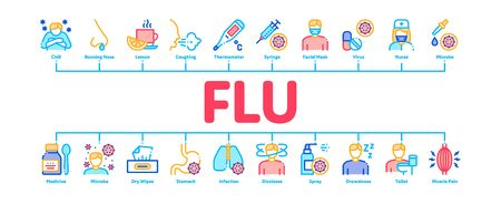 Flu Symptoms Minimal Infographic Web Banner Vector. Chills And Fever, Cough And Runny Nose, Flu Virus In Lungs And Stomach Color Concept Illustrations