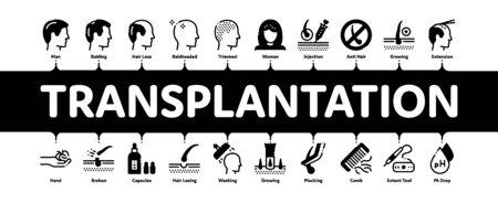 Hair Transplantation Minimal Infographic Web Banner Vector. Balding And Baldness Man Head, Shampoo And Medicine In Bottle Transplantation Concept Illustrations Vettoriali