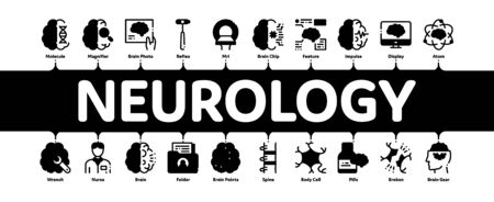 Neurology Medicine Minimal Infographic Web Banner Vector. Neurology Equipment And Neurologist, Brain And Nervous System, Nerves And Files Concept Illustrations