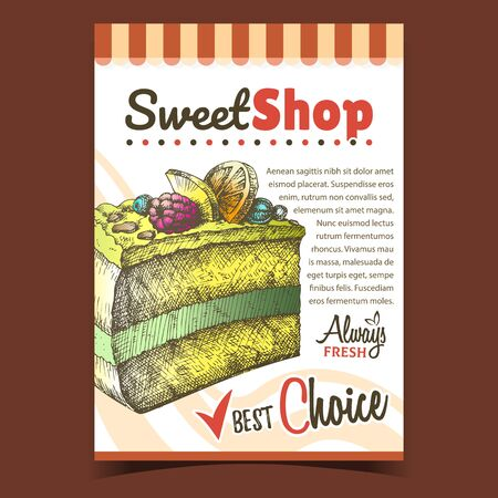 Sweet Shop Creamy Cake Advertise Poster Vector. Delicious Cake With Blackberry And Blueberry, Raspberry And Sliced Orange On Cream Concept. Design Gastronomy Product Template Color Illustration