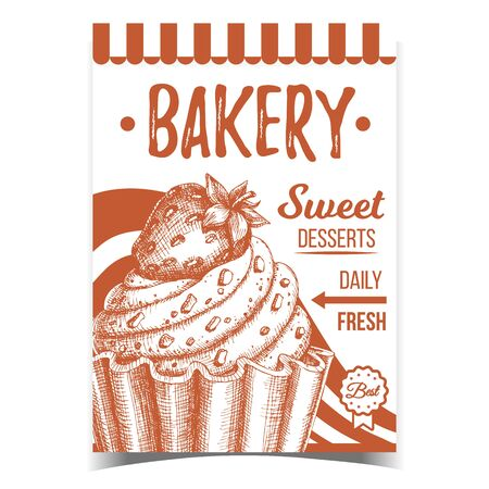 Bakery Sweet Dessert Advertising Banner Vector. Confectionery Creamy Tasty Bakery Cake Made From Custard Cream Decorated Chocolate Crumbs And Strawberry On Top. Monochrome Food Template Illustration