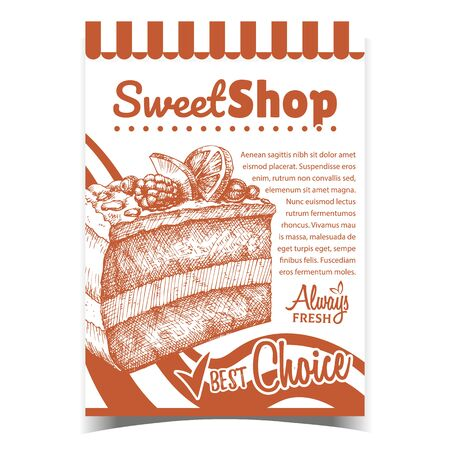 Sweet Shop Creamy Cake Advertise Poster Vector. Delicious Cake With Blackberry And Blueberry, Raspberry And Sliced Orange On Cream Concept. Design Gastronomy Product Template Monochrome Illustration