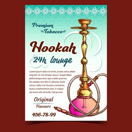 Hookah Lounge With Original Flavours Banner Vector. Arabia Oriental Relaxation Smoking Aroma Flavored Tobacco Or Cannabis Equipment Hookah. Color Hand Drawn In Vintage Style Illustration Stock Illustratie