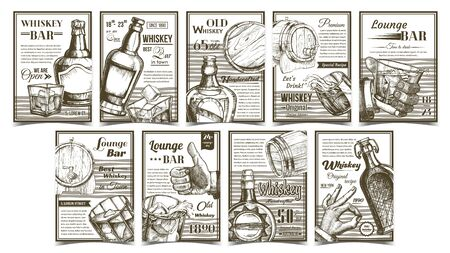 Whiskey Lounge Bar Advertising Posters Set Vector. Collection Of Different Creative Banners With Whiskey Bottle, Alcohol Drink And Ice Cubes Glass, Wooden Barrel, Man Hand Gesture Illustrations Stock Illustratie